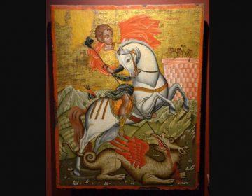 Sint-Joris en de draak (achttiende-eeuwse ikoon uit het Antivouniotissa-museum, Korfu)