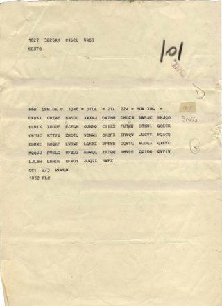 Typisch voorbeeld van een onderschepte code, voor decryptie en vertaling