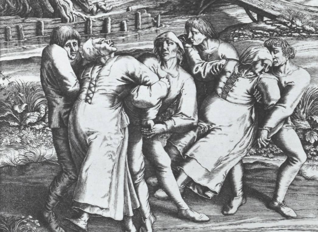 Gravure van Hendrik Hondius waarop drie vrouwen te zien zijn die aan de dansplaag lijden - Reproductie door Pieter Bruegel de Oudere