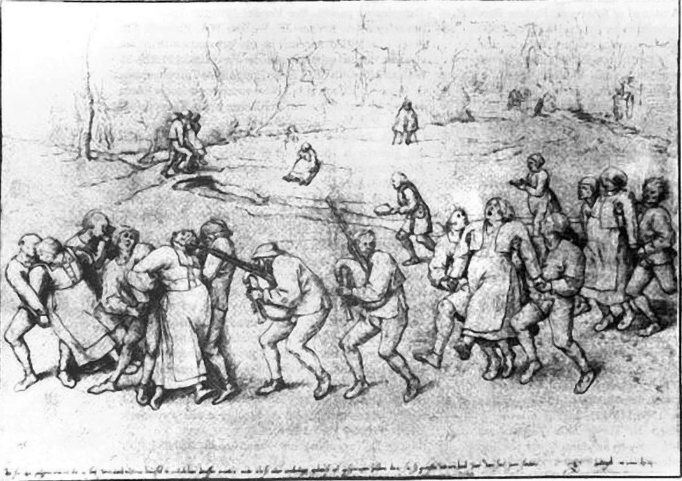 Tekening van Pieter Breugel de Oude, 1564 (Albertina, Vienna). Afgebeeld is de jaarlijkse processie van epileptici naar de Sint-Janskerk van Molenbeek (bij Brussel).
