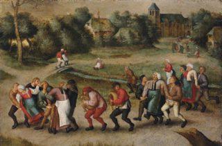 Sint-Jansdansers in Molenbeek (Pieter Brueghel de Jonge, 1592): jaarlijkse dansprocessie met epileptici naar de Sint-Jan-de-Doperkerk (Molenbeek).