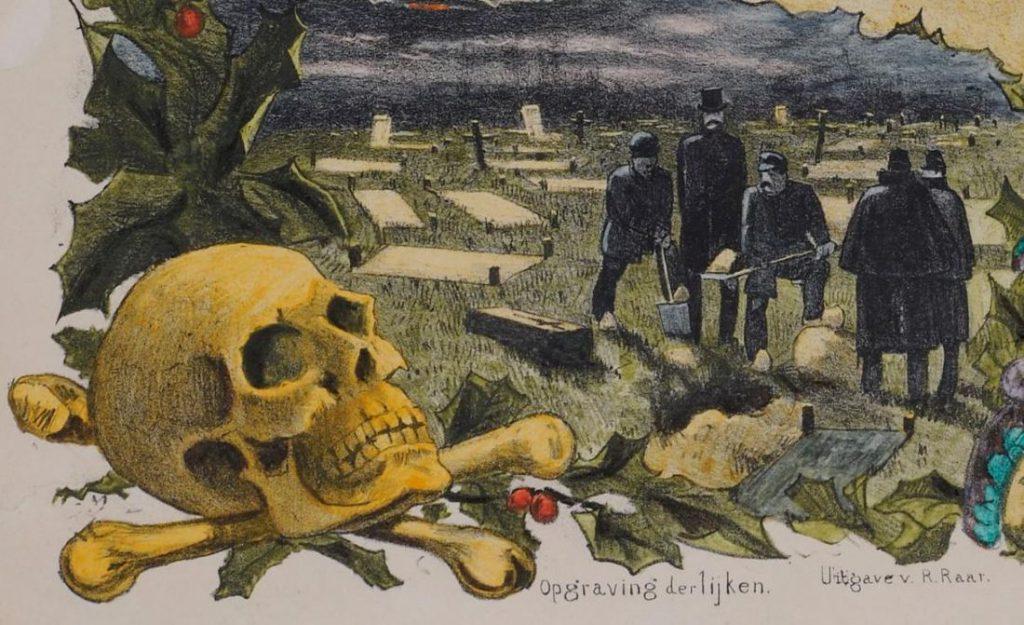 Het opgraven van de lijken. Fragment uit litho van Roelof Raar (1885)