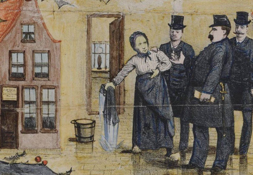 Arrestatie van Goeie Mie. Fragment uit een litho van Roelof Raar (1885)