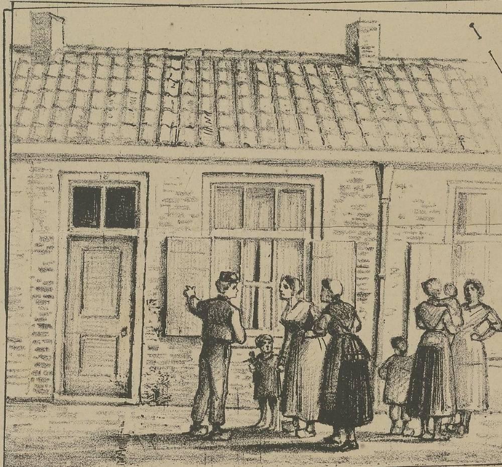 Ramptoeristen bewonderen het huis van Goeie Mie in Leiden. Detail afkomstig uit Geïllustreerd Politienieuws 1883
