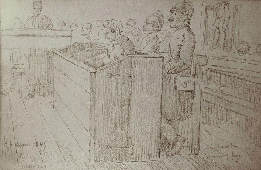 Goeie Mie in de beklaagdenbank tijdens haar eerste procesdag. Tekening van Victor de Stuers