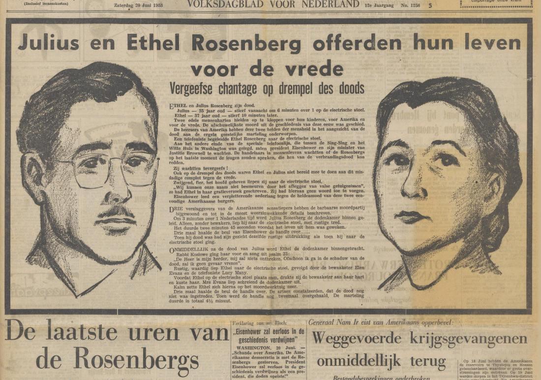 Executie Rosenbergs, voorpagina De Waarheid (20-6-1953). Bron: Delpher (Detail)