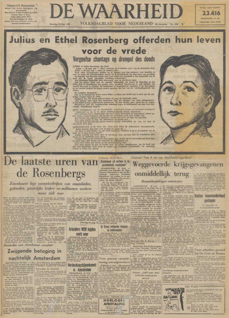 Executie Rosenbergs, voorpagina De Waarheid (20-6-1953). Bron: Delpher.
