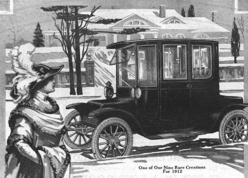 Een advertentie voor een elektrische auto uit 1912.