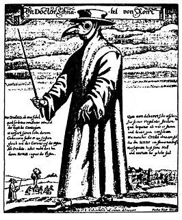 De Pestmeester of Snaveldokter, 1656, die in Rome aangesteld was om, duidelijk herkenbaar, pestlijders te bezoeken.