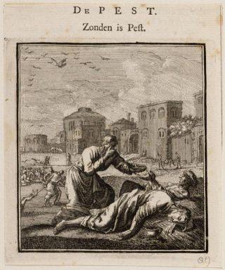 Jan Luyken (1649-1712): Zonden is pest'. In prentenboek 'Beschouwing der wereld - Godlijke spreuken en stichtelijke versen' (1708, Google Books, pag. 356). In het rijk geïllustreerde boek bespreekt en illustreert Luyken alle mogelijk aspecten van het dagelijks leven.