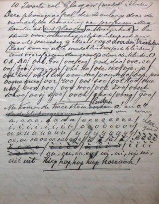 Transcriptie van de opname van 9 maart 1898. Archief Kees Boeke/IISG.