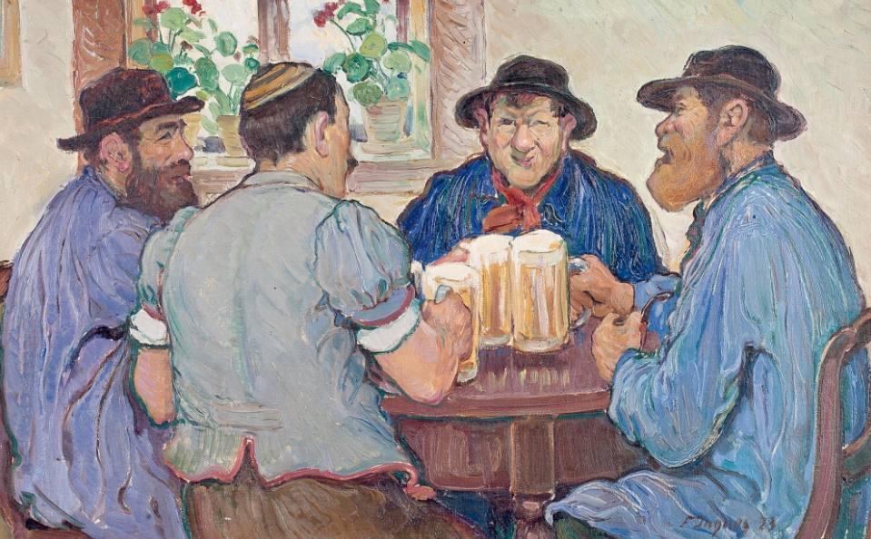 Vier mannen genieten van een biertje in een kroeg in Freiburg - François Jaques, 1923