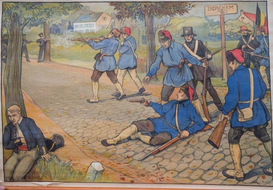Schoolplaat van de slag bij Berchem, het moment waarop graaf Frederik de Merode getroffen is door een Hollandse kogel.