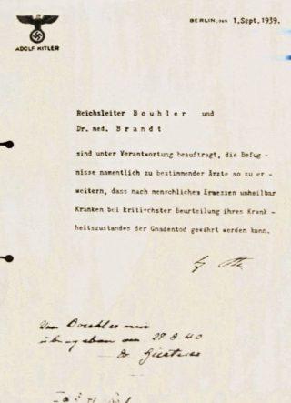 Hitlers bevel voor Aktion T4