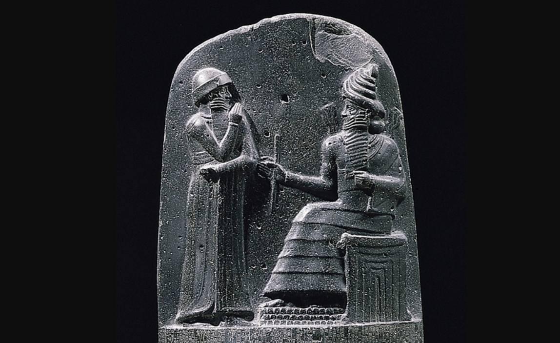 Hammurabi en Sjamasj op de Codex van Hammurabi