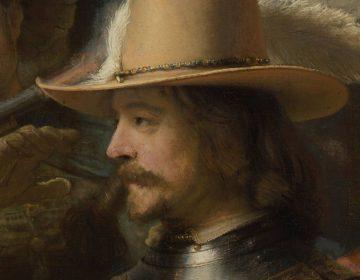 Detail van de Nachtwacht van Rembrandt van Rijn