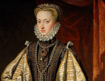 Anna van Oostenrijk - Alonso Sánchez Coello, 1571 (Publiek Domein - wiki) - Anna van Oostenrijk: vierde echtgenote van de Spaanse Koning, Philips II. De Nederlandse mode was in de zestiende eeuw voornamelijk schatplichtig aan de Spaanse hofmode.