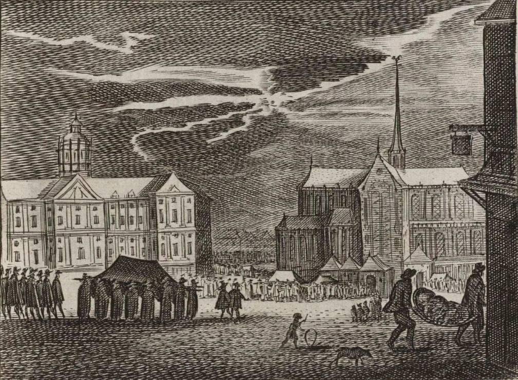 Pestdoden worden in Amsterdam ten grave gedragen. Op de achtergrond het Stadhuis en de Nieuwe Kerk. (Beeldbank Amsterdam)