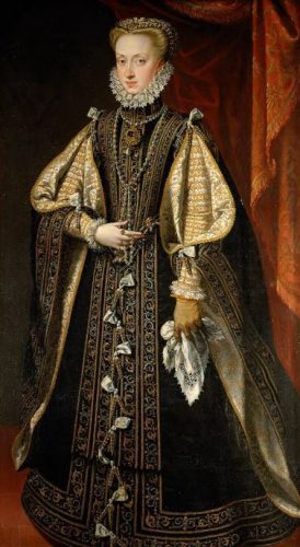 Anna van Oostenrijk: vierde echtgenote van de Spaanse Koning, Filips II. De Nederlandse mode was in de zestiende eeuw voornamelijk schatplichtig aan de Spaanse hofmode.