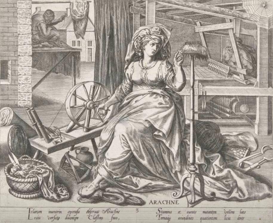 Weefkunst - Philips Galle, naar Marten van Cleve of naar Frans Floris, 1574 (Rijksmuseum Amsterdam – Publiek domein) - In de voorgrond Arachne achter het spinnenwiel (een figuur uit de Griekse en Romeinse mythologie welke erg goed kon spinnen). Aan haar voeten, gereedschap van de textielnijverheid. Op de achtergrond een kleermakersvrouw achter het weefgetouw en een man met naald en draad.