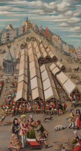 De lakenmarkt te 's-Hertogenbosch – Anoniem, ca. 1530 (Publiek Domein - wiki - Noordbrabants Museum) - Gezicht op de Lakenmarkt van 's-Hertogenbosch. Vooraan Sint-Franciscus, de patroonheilige van het gewandsnijders- en droogscheerdersgilde, die stoffen uitdeelt aan de armen. Opvallend is de kleurrijke waar van de handelaren.