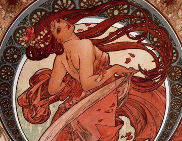 Detail van een kunstwerk van Alfons Mucha in de Art-nouveau-stijl, kenmerkend voor de belle époque