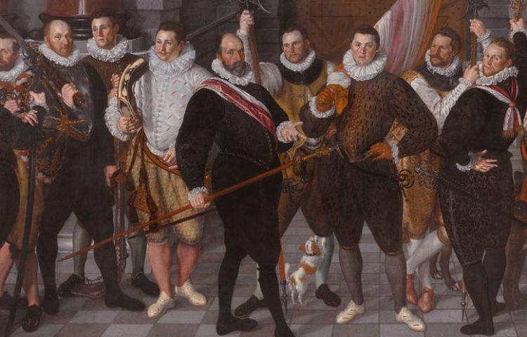 Het korporaalschap van kapitein Dirck Jacobsz Rosecrans en luitenant Pauw, Cornelis Ketel, 1588 (Publiek Domein - wiki Rijksmuseum) - De schutters dragen opgevulde wambuizen, met spleten. Om hun halzen dragen zij een plooikraag. De schoenen zijn smal naar de Spaanse mode, hun broeken wijd aan de heupen.