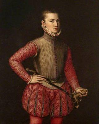 Portret van Don Juan van Oostenrijk - Jooris van der Straaten (ca. 1560) of Alonso Sánchez Coello (Publiek Domein - wiki - Pollok House) - Het brede silhouet met pofbroek en hoge kraag van Don Juan zijn kenmerkend voor het derde kwart van de zestiende eeuw. Opvallend zijn verder de spleten in de pofbroek en de dracht van het zwaard links aan de gordel, en de dolk op de rug.
