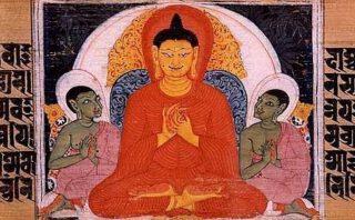 Sanskriet document waarop te zien is hoe Boeddha de vier edele waarheden onderwijst