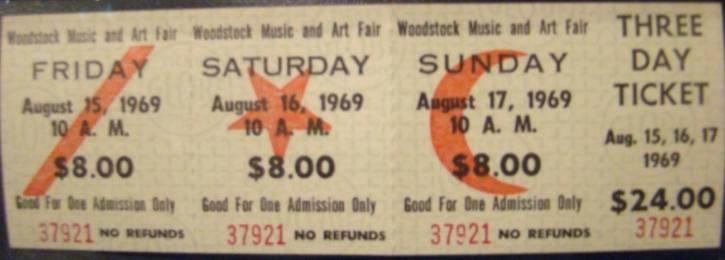 Woodstock. Tickets voor drie dagen