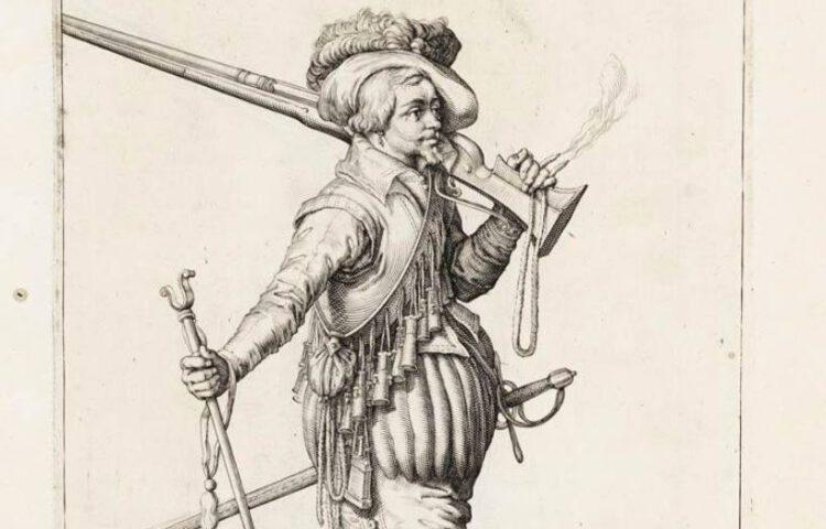 Musketier - uit de Wapenhandelinghe van Roers, Musquetten ende Spiessen, Jacob de Gheyn, 1607