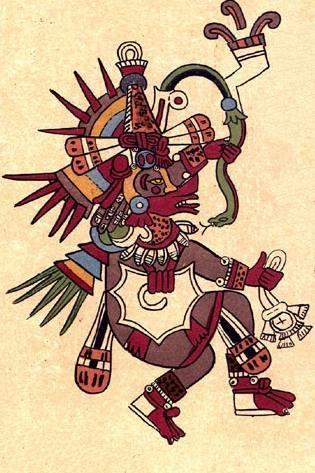 Quetzalcoatl afgebeeld in de Codex Borbonicus
