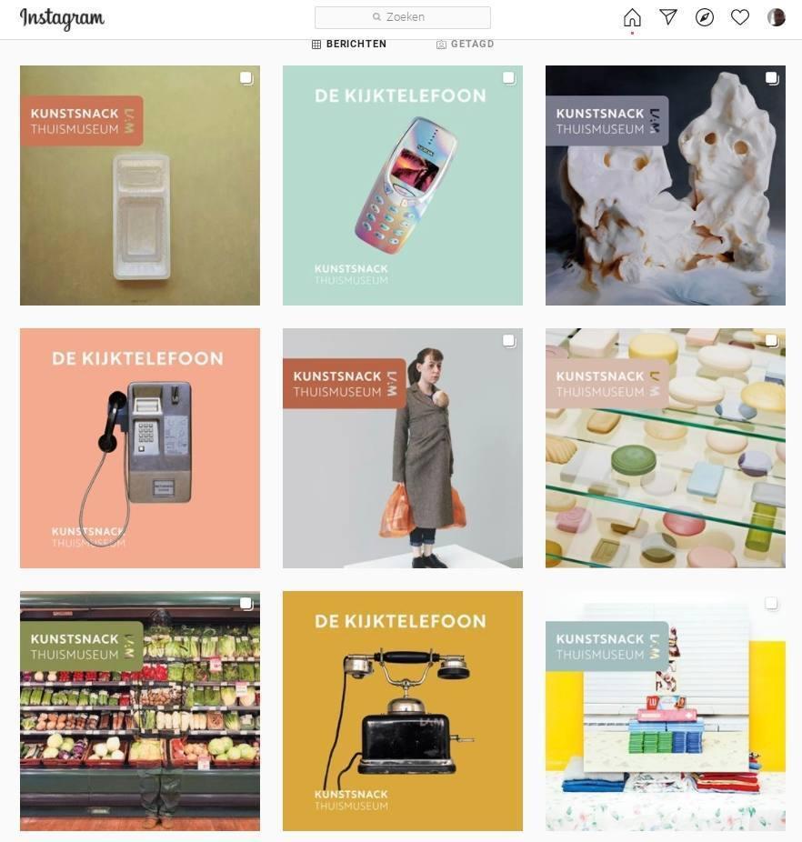 Kunstsnacks op de Instagram-pagina 'thuismuseum' - www.instagram.com/thuismuseum/
