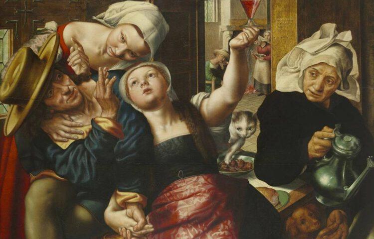Losbandig gezelschap in een bordeel - Jan Sanders van Hemessen, 1543 (Publiek Domein - The Wadsworth Atheneum - wiki) - De dame linksboven heeft een lange opgespelde hoofddoek met een duidelijke middenvouw en een zichtbaar templet. Ze draagt een rode onderrock. De hoofddoek van de middelste dame staat al wat wijder uit rond de slapen. Haar onderrock heeft een vierkante halsuitsnijding. De stof van het rokgedeelte heeft een patroon dat in de vijftiende en begin zestiende eeuw populair was. De oudere dame rechts heeft haar hoofddoek met spelden opgestoken.