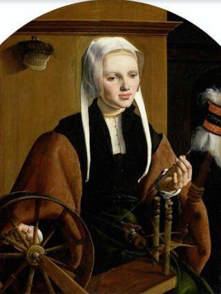Anna Codde – Maarten van Heemskerck, 1529 (Publiek Domein - Rijksmuseum - wiki) - Jongedame met zwart schouderjakje, over een groene tabbaard met vierkante hals en wijde omgeslagen mouwen. Het hemd is afgewerkt met een passementen boordje. De op kinhoogte afgesneden hoofddoek heeft twee lange slippen die over de schouders vallen. Onder de middenvouw is een ondermutsje te zien.
