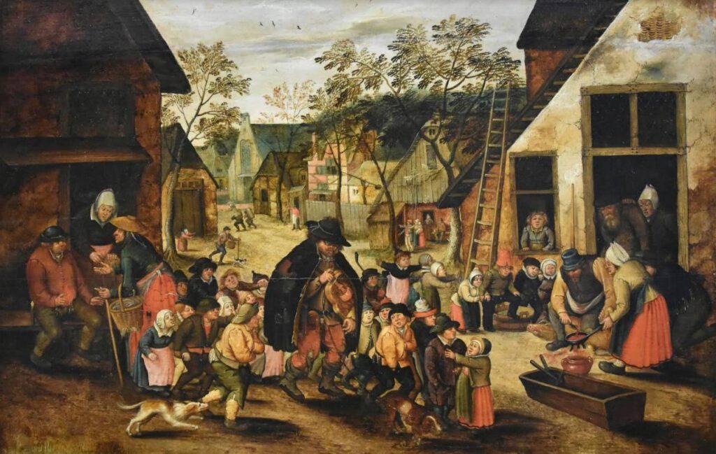 De lierenman – Pieter Brueghel de Jonge (Publiek Domein - Noordbrabants Museum - wiki) - De lierenman was een arme blinde man. Zijn hoed is daar een symbool van. De kinderen zijn haast miniaturen van hun ouders. De meisjes met witte hoofddoekjes, tabbaarden en een schort, de jongens, de bonnetten op het hoofd, in wambuizen en hozen, sommigen met overbroek.