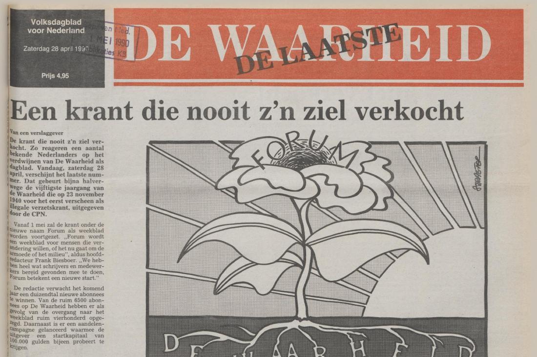 Detail van de voorpagina van het laatste nummer van De Waarheid (28-4-1990) - Delpher