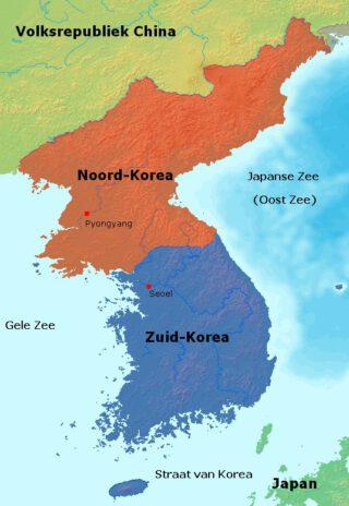 Nederlandse kaart van Noord-Korea en Zuid-Korea. (Publiek domein/wiki)