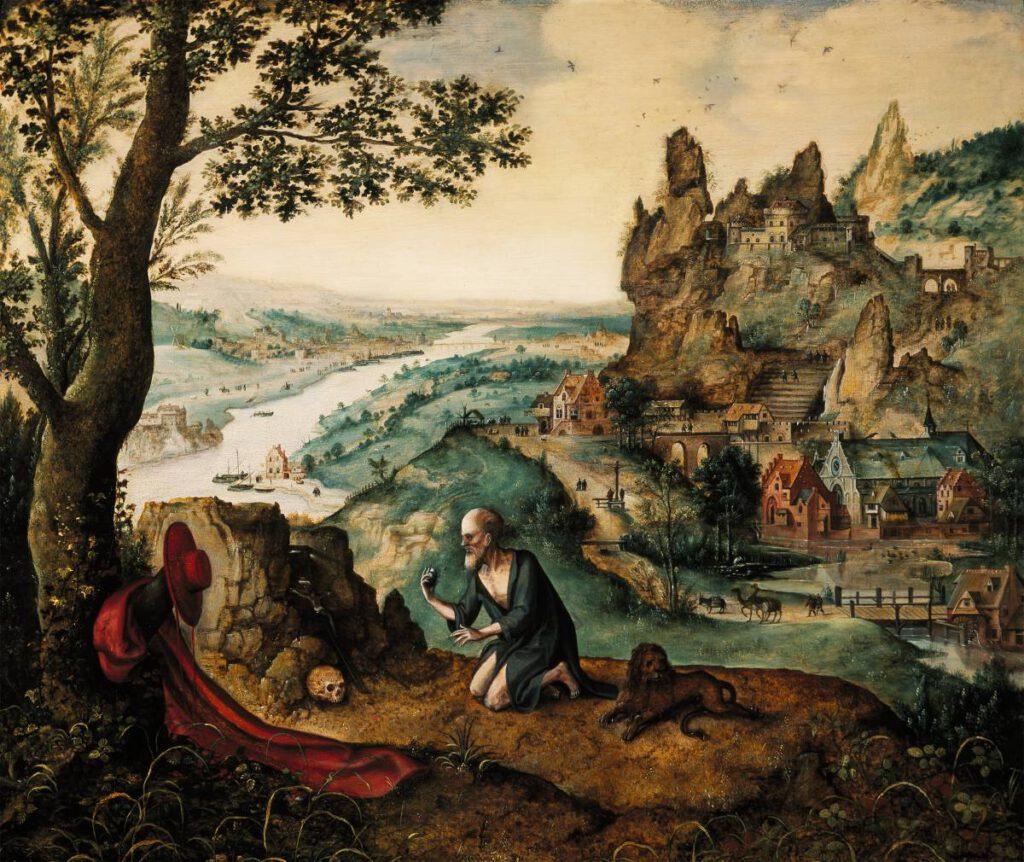 Lucas Gassel, Landschap met de boetedoening van de heilige Hiëronymus, ca. 1540-1550, Museo Soumaya - Fundación Carlos Slim, Mexico-Stad.
