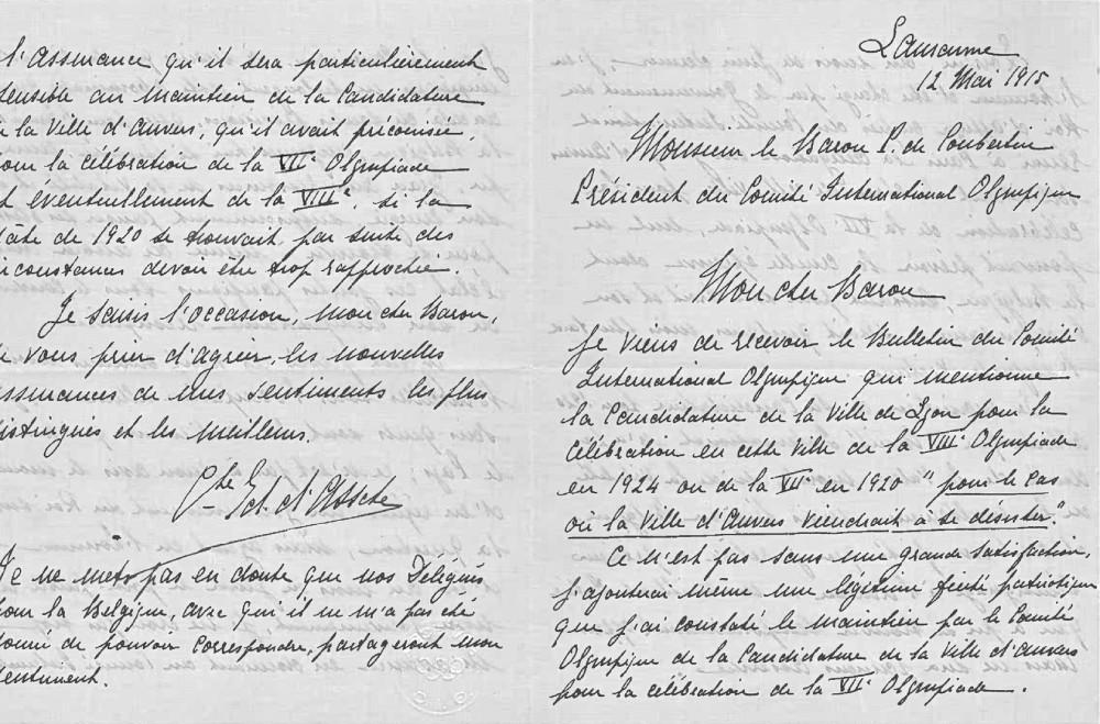 Brief van Edouard d'Assche aan IOC-voorzitter Pierre de Coubertin.