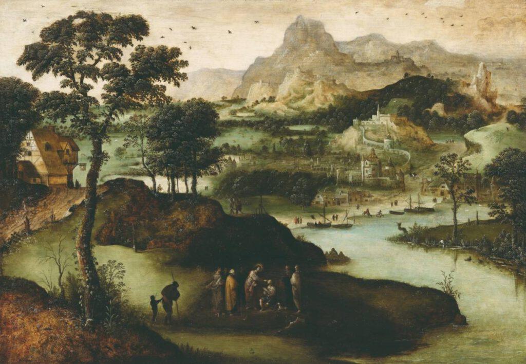 Lucas Gassel, Landschap met Christus die een blinde man geneest, 1540, olieverf op paneel. - Stiftung Situation Kunst, Bochum, Duitsland. Langdurig bruikleen uit een particuliere verzameling.