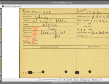 Voorbeeld van een gedigitaliseerde arrestantenkaart
