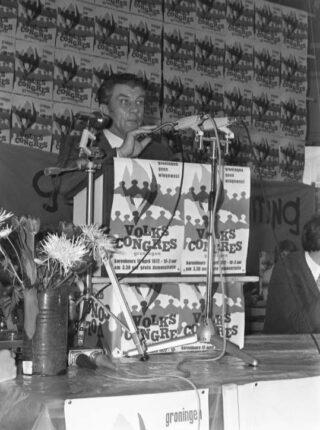 Fré Meis spreekt het Volkscongres in Groningen toe (1972)