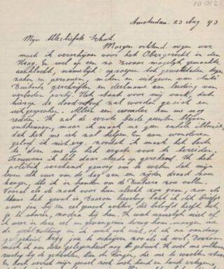 Detail van een brief van Jan Dieters aan zijn vrouw