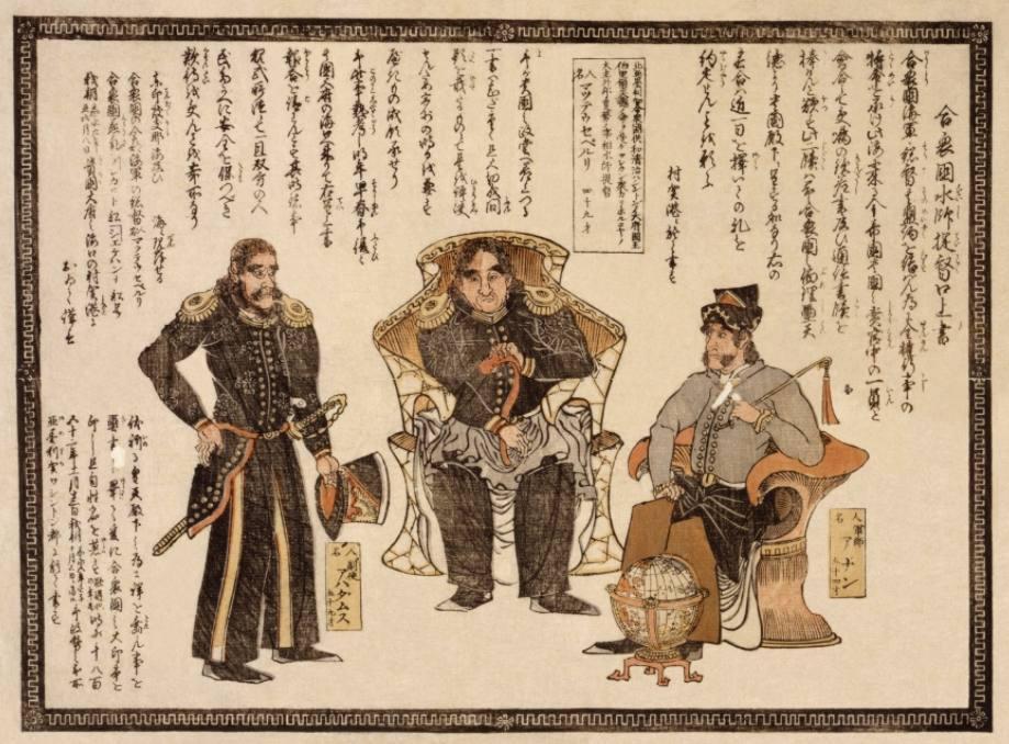 Japanse prent van Matthew Perry (midden) en andere Amerikaanse zeelui.