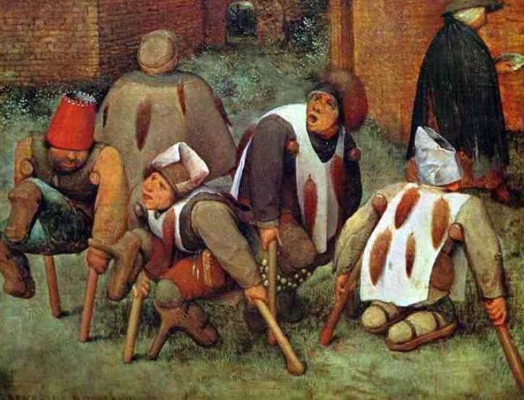 Schilderij van Pieter Bruegel de Oudere, 1568, met enkele bedelende kreupelen