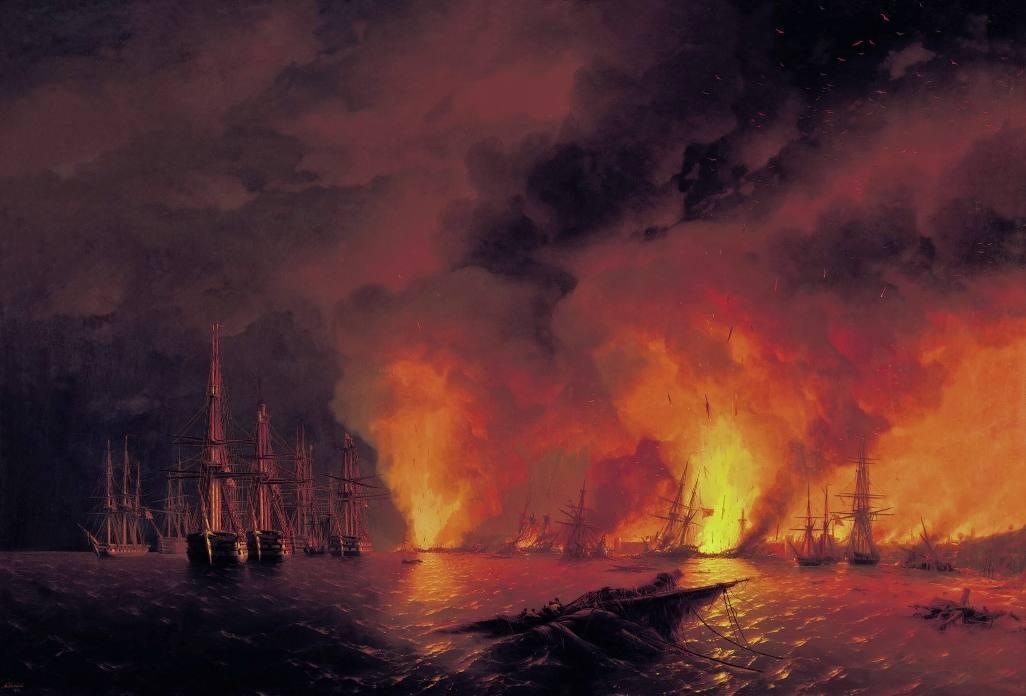 De Russen versloegen de Ottomanen in de Slag bij Sinop - Ivan Aivazovski