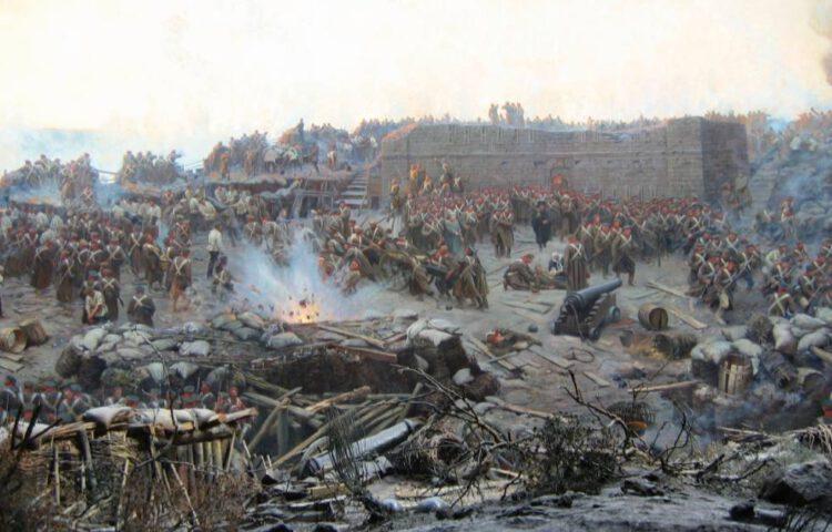 Krimoorlog - Detail van het schilderij 'De belegering van Sebastopol' van Franz Roubaud, 1904