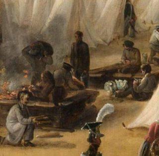 Kookgaten, uitsnede van een schilderij. Legerkamp van Nederlandse troepen te Rijen, in of na de Tiendaagse Veldtocht in 1831, anoniem, 1831-1835. Olieverf op doek. (Rijksmuseum)