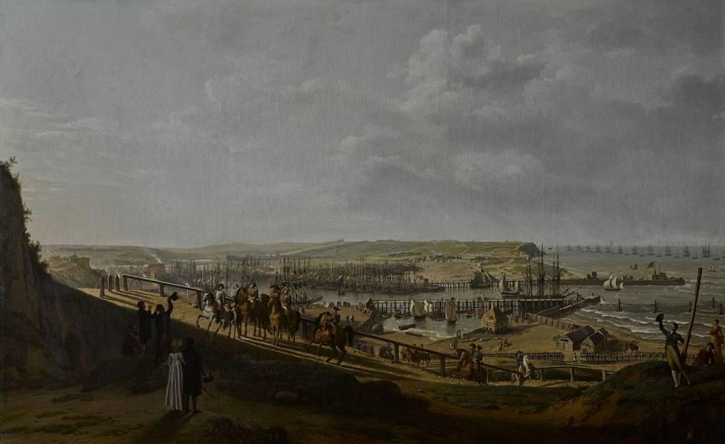 Napoleon I (1769-1821) bezoekt het kamp in de Boulogne in juli 1804. Schilderij, Jean-François Hue. (Publiek Domein - wiki)